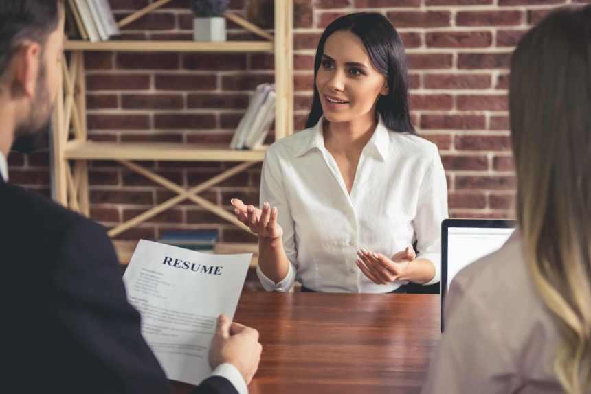 An applicant attending a job interview