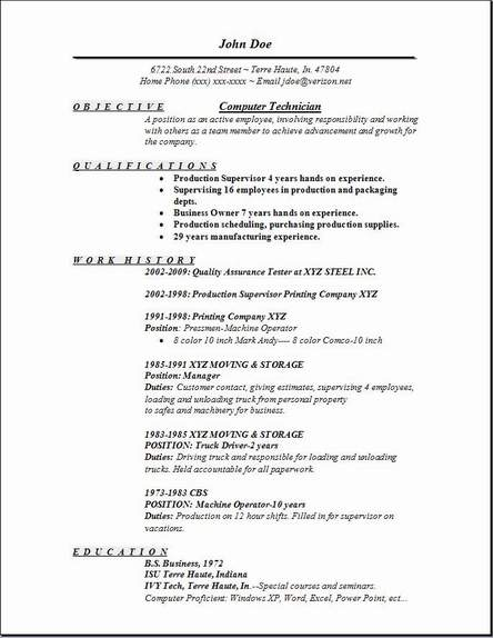 Computer Technician Resume Sample - Resume Sample