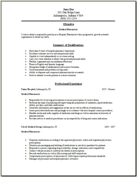 medical pharmacy resume occupational examples samples free edit - Pharmacist Resume Example