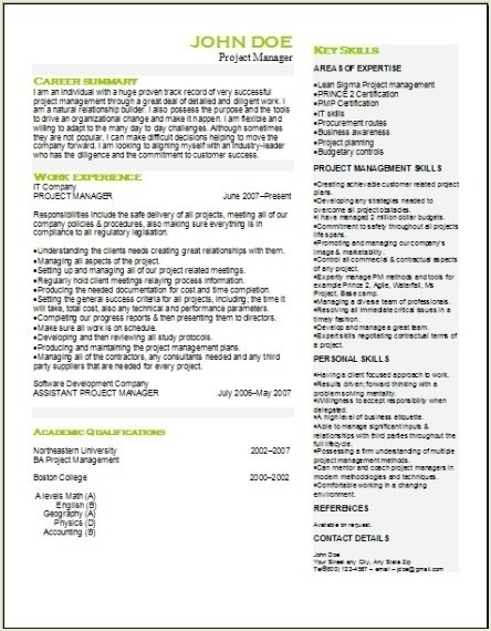 Project Management Resume Occupationalexamplessamples Free Edit With Word