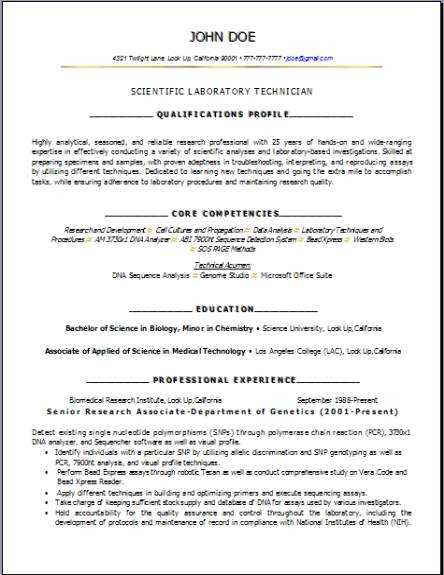 Science Biology Lab Resume Occupationalexamplessamples Free Edit With Word