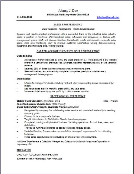 Technical Sales Resume Occupationalexamplessamples Free Edit With Word