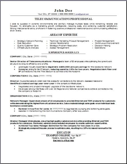 Telecommunications Resume Occupationalexamplessamples Free Edit With Word