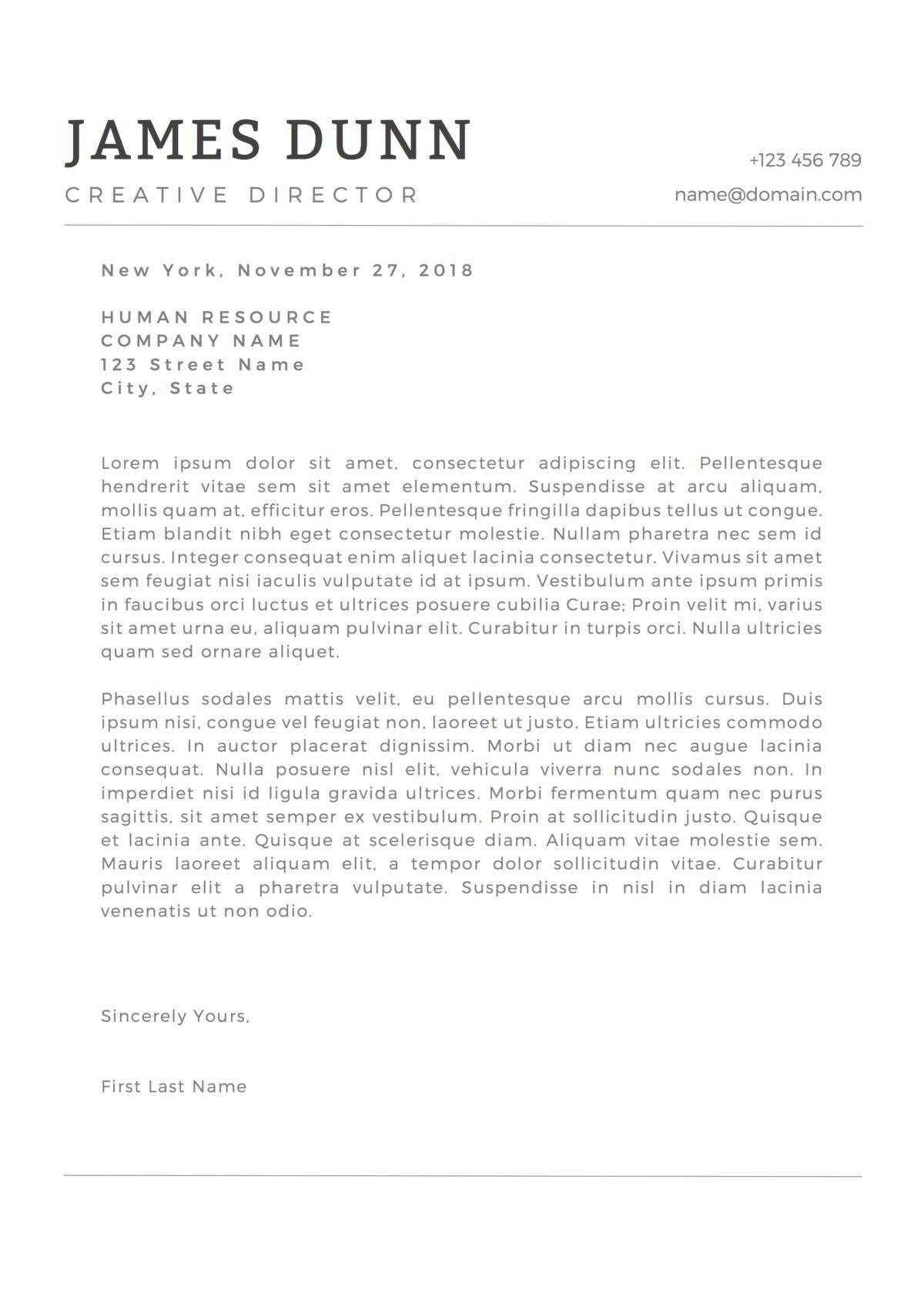 James Dunn Cover Letter