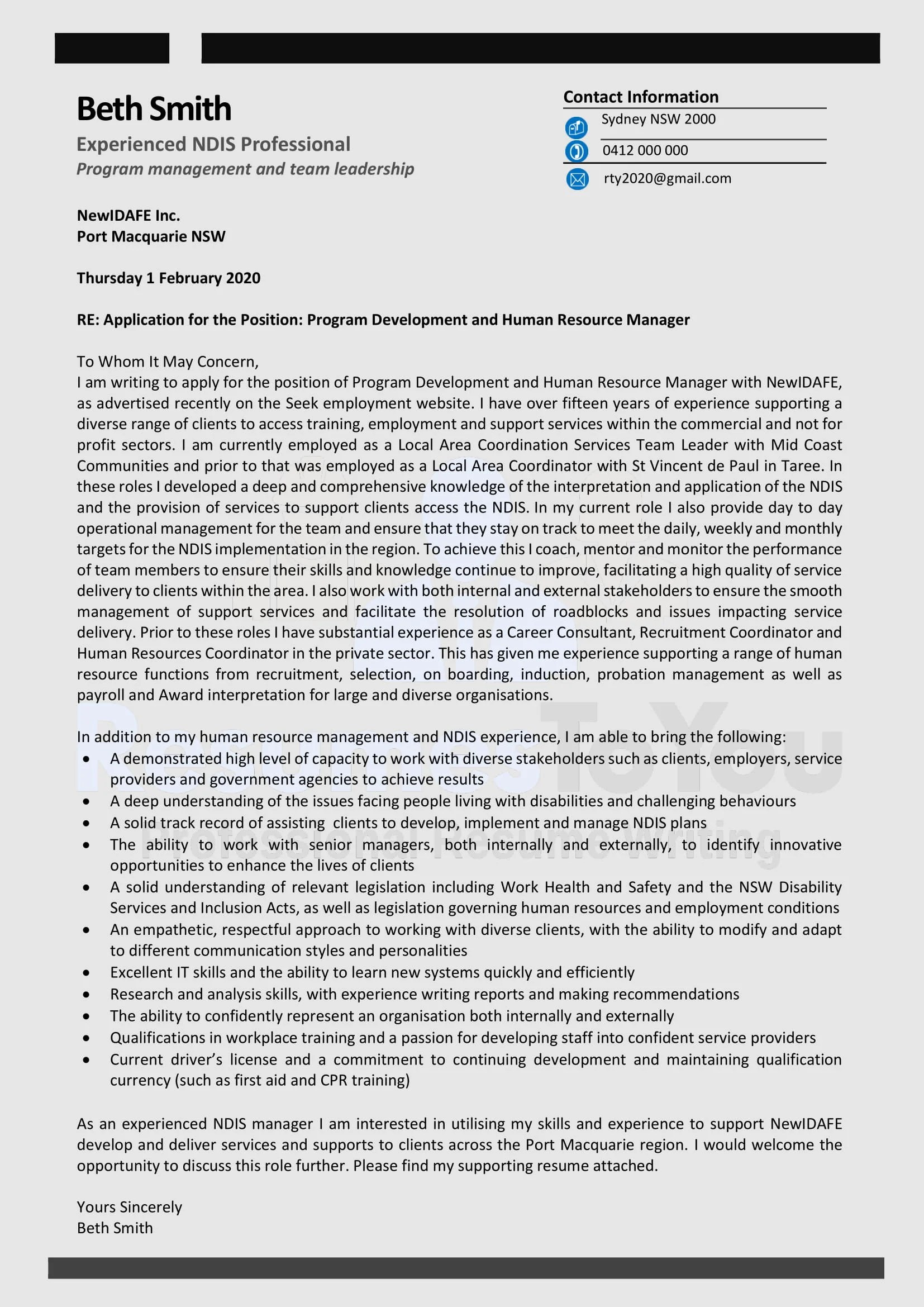 Tailored Cover Letter-sample
