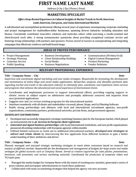 Skills such as email marketing expertise, creativity, organization, teamwork and attention to details are common experience on most example resumes for email marketing managers. Marketing Specialist Resume Sample Template