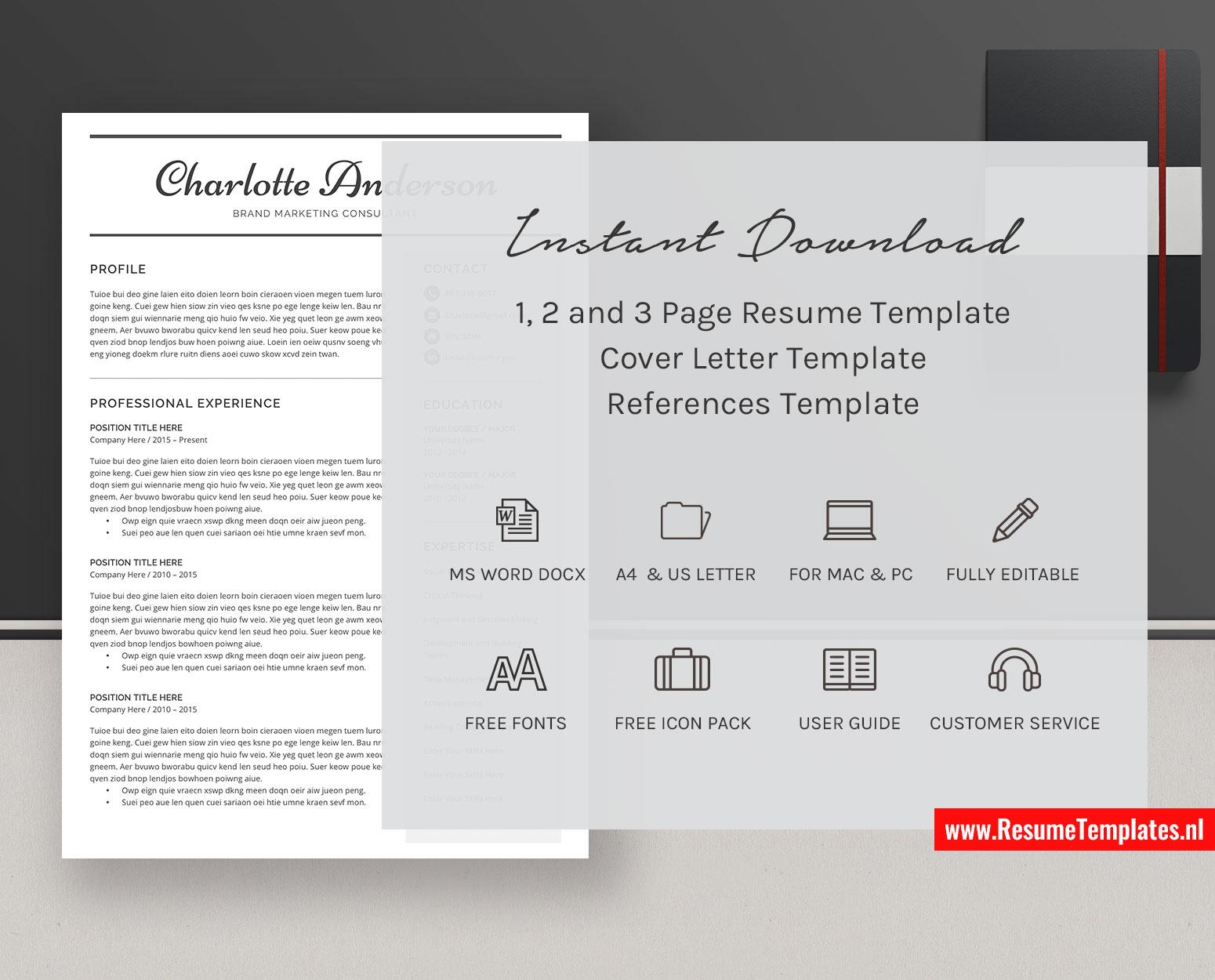 It includes cv, cover letter, and portfolio templates. Student Cv Template Resume Template Minimalist Curriculum Vitae Microsoft Word Resume Professional Resume Simple Resume Modern Resume 1 3 Page Resume Design Resumetemplates Nl