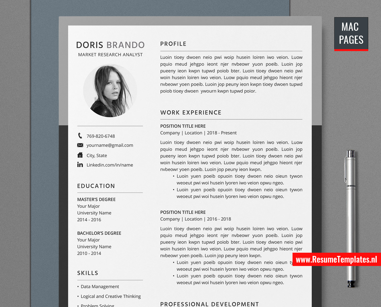 In this section, we will provide a general description of the main types of resumes, which type is most suitable for specific people and their respective samples. For Mac Pages Professional Resume Template Cv Template For Mac Pages With Cover Letter And References Template Modern Cv Template Job Resume 1 Page 2 Page 3 Page Resume Instant Download Resumetemplates Nl