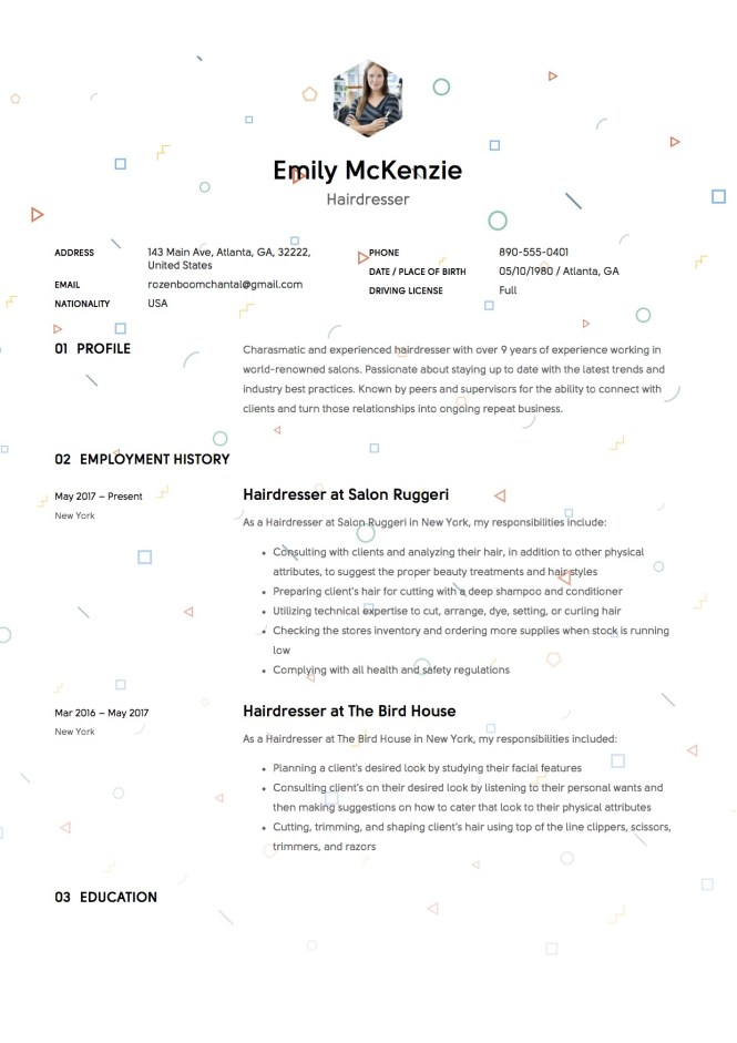 Resume For Hairdresser  Resume Sample