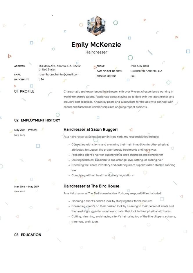 Resume For Hairdresser  Resume Sample
