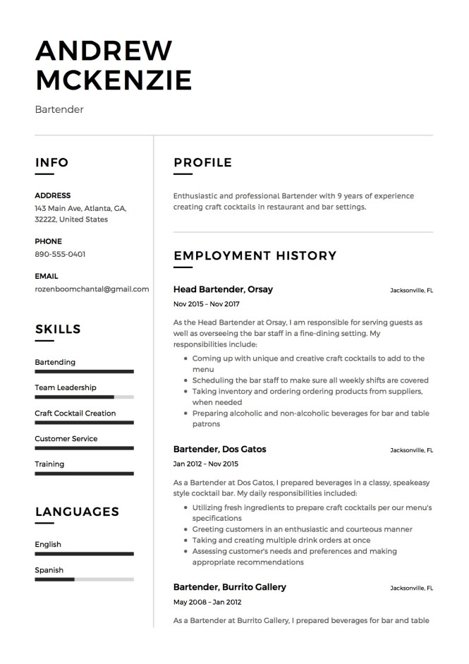 Bartender Resume Sample 12 Creative Examples 2018