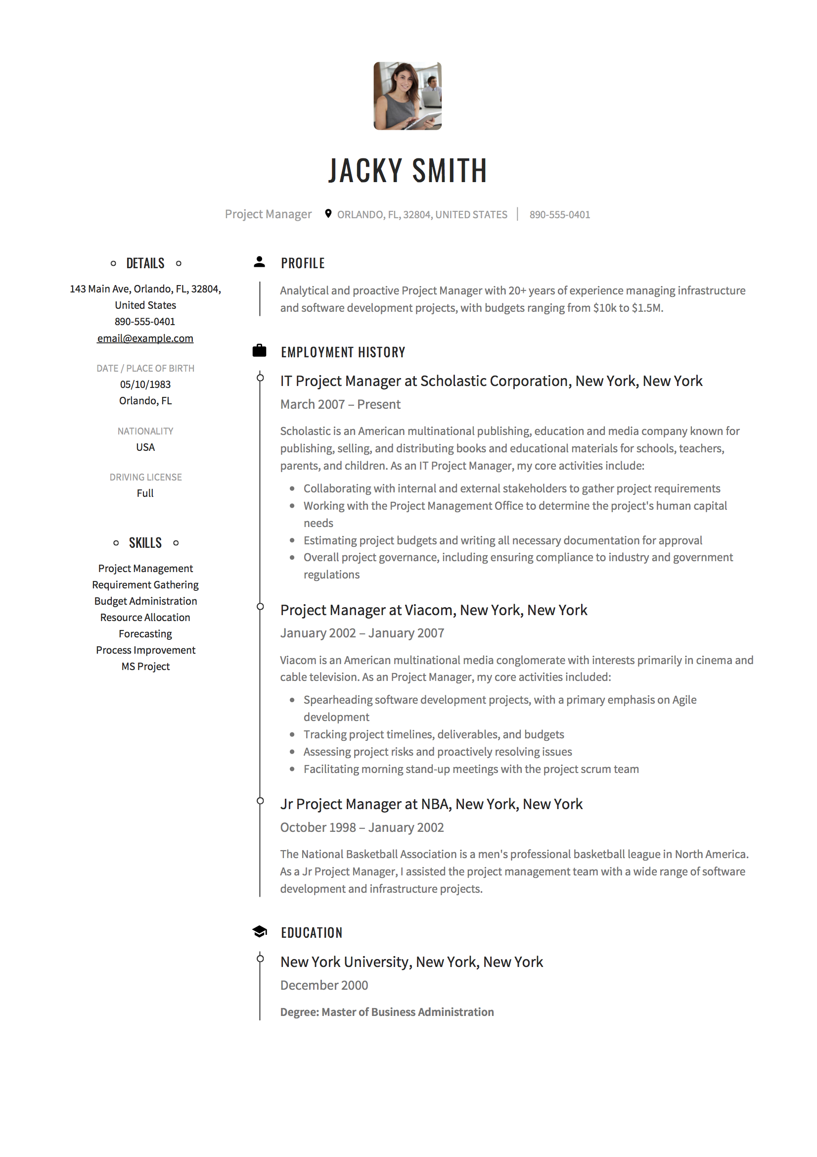 Sample Of Manager Resume