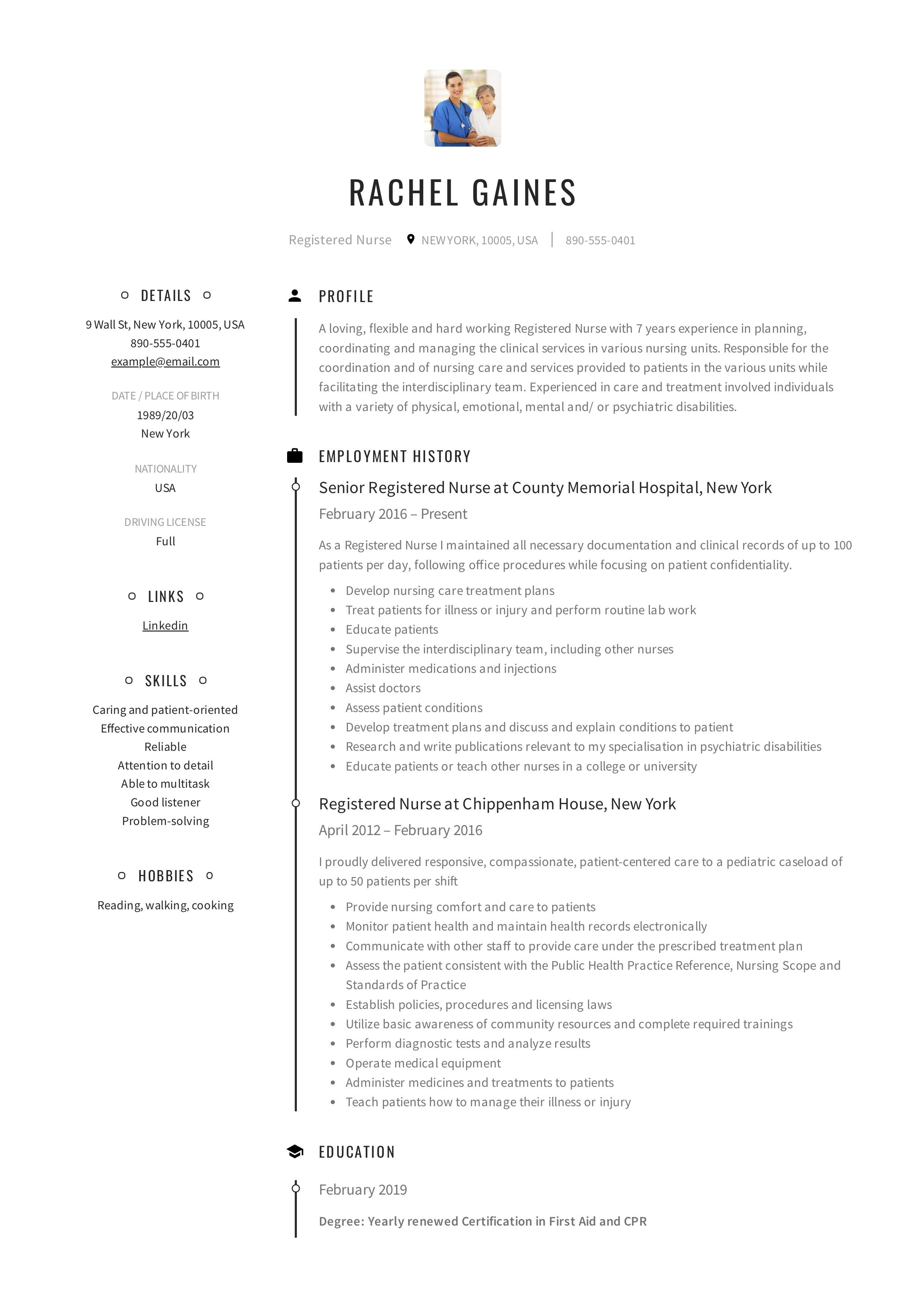 Registered Nurse Resume Sample Amp Writing Guide 12 Samples PDF