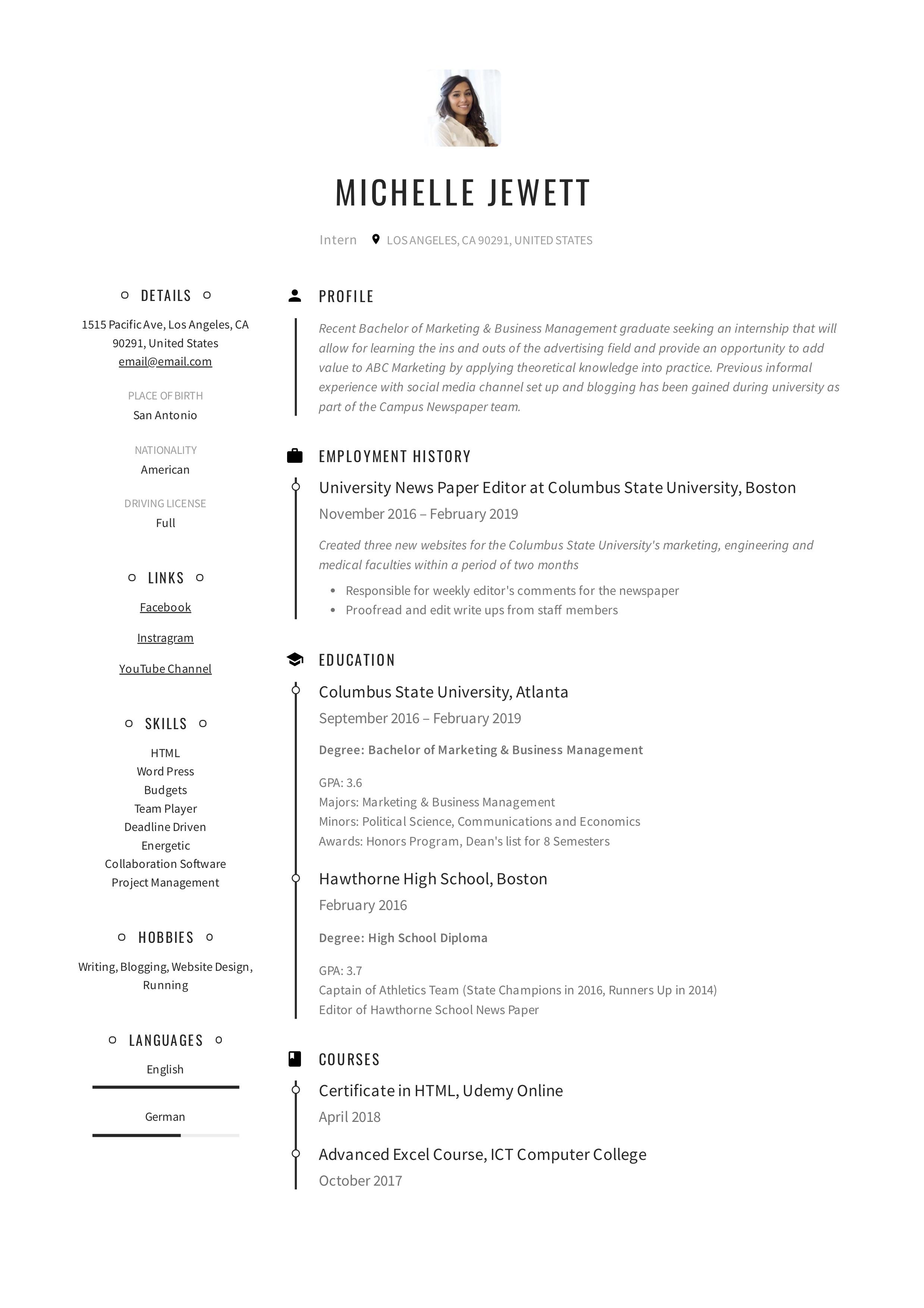 Intern Resume Amp Writing Guide 12 Samples Pdf 2019