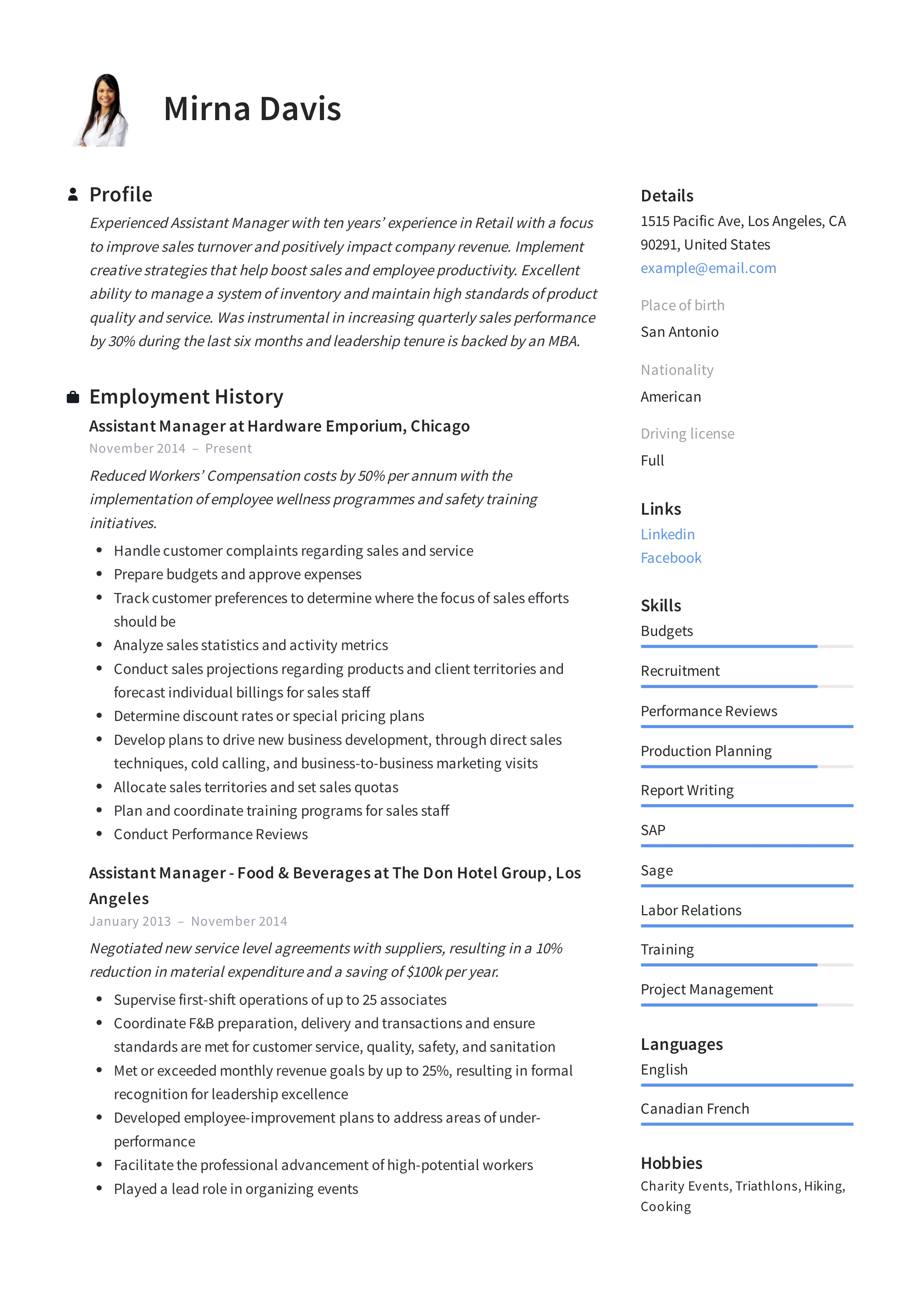 Assistant Manager Resume Amp Writing Guide