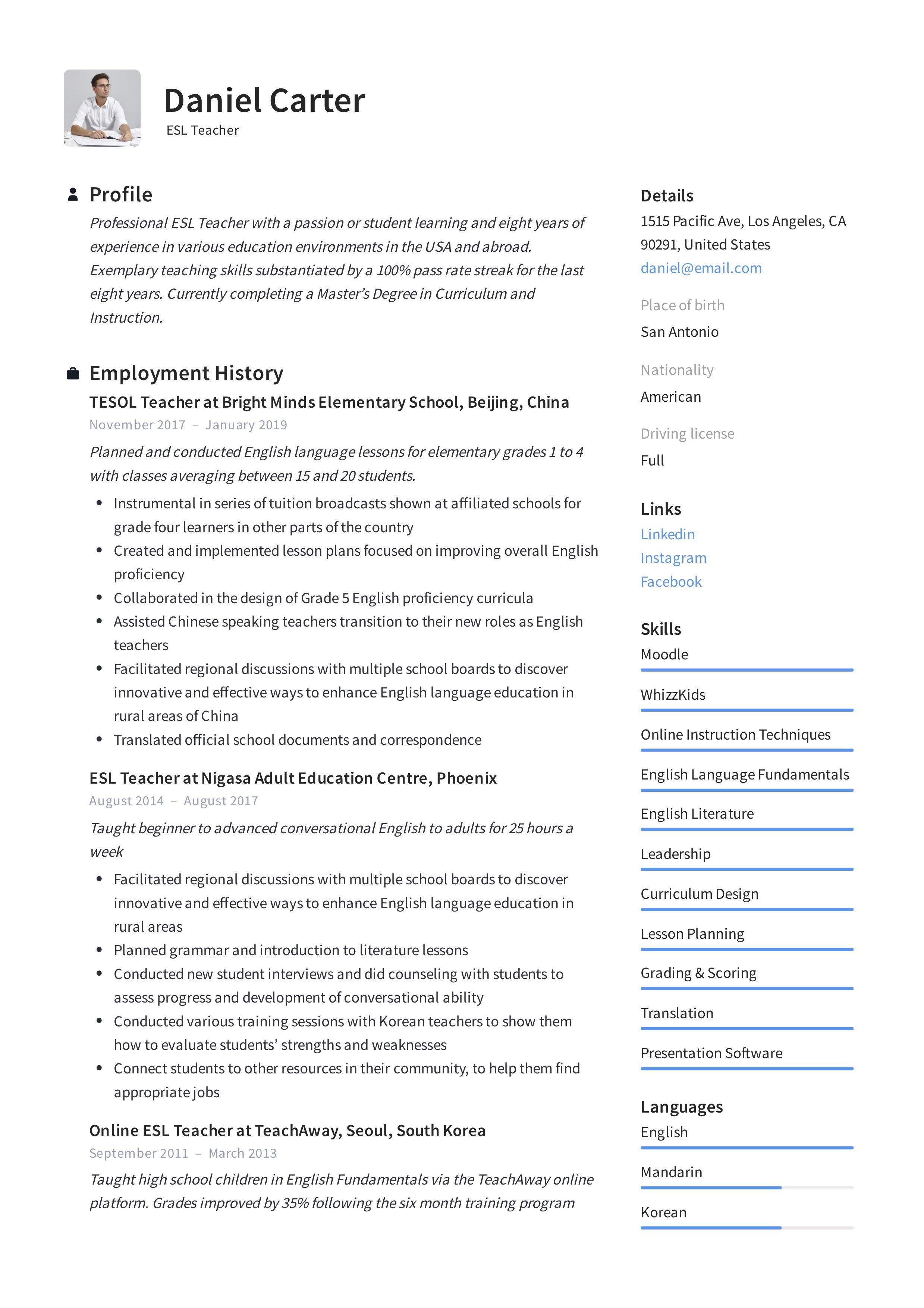 Esl Resume Worksheet