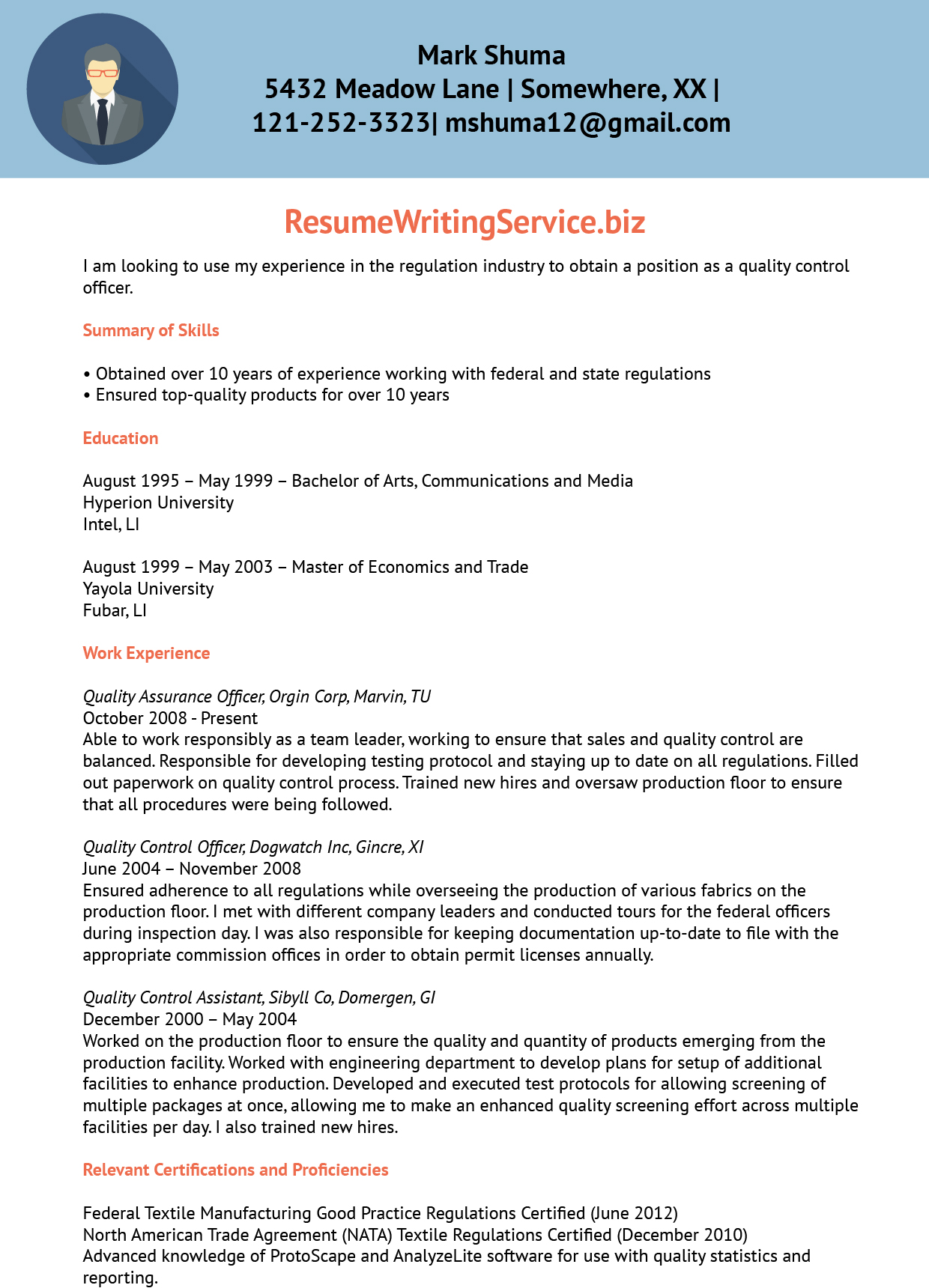 Quality Control Officer Resume Sample