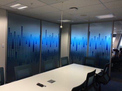 Blue decorative office glass vinyl