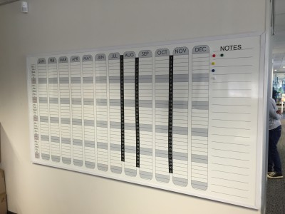 Custom calendar whiteboard