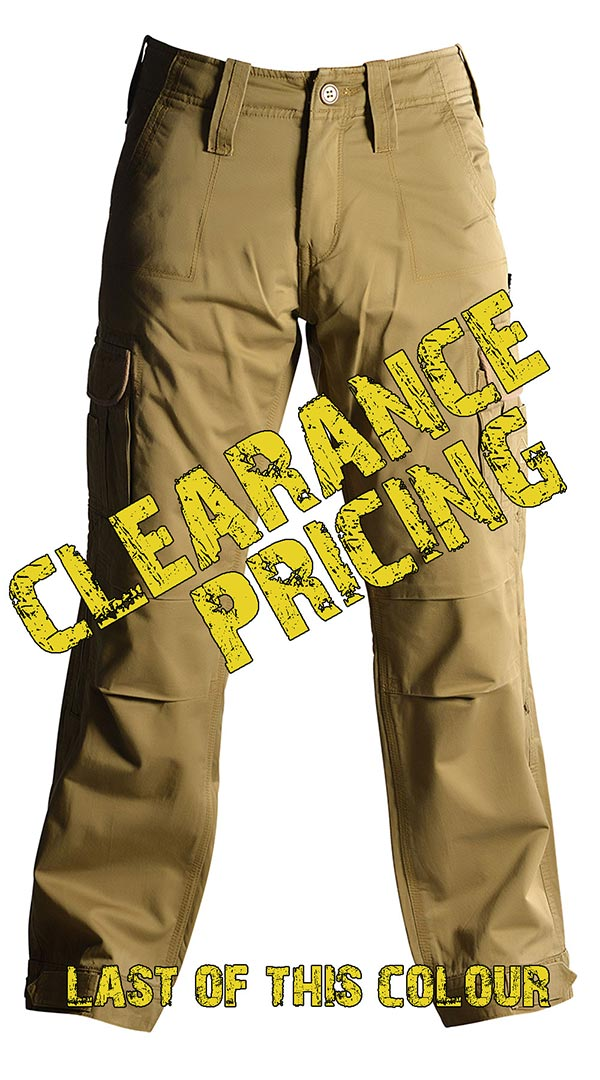 Mens Motorcycle Cargo Pants - Tan - with PEKEV armor lined 100% cotton