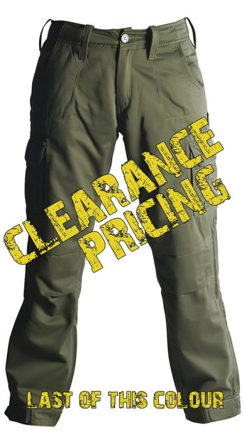 Mens Motorcycle Cargo Pants - Green - with PEKEV armor lined 100% cotton