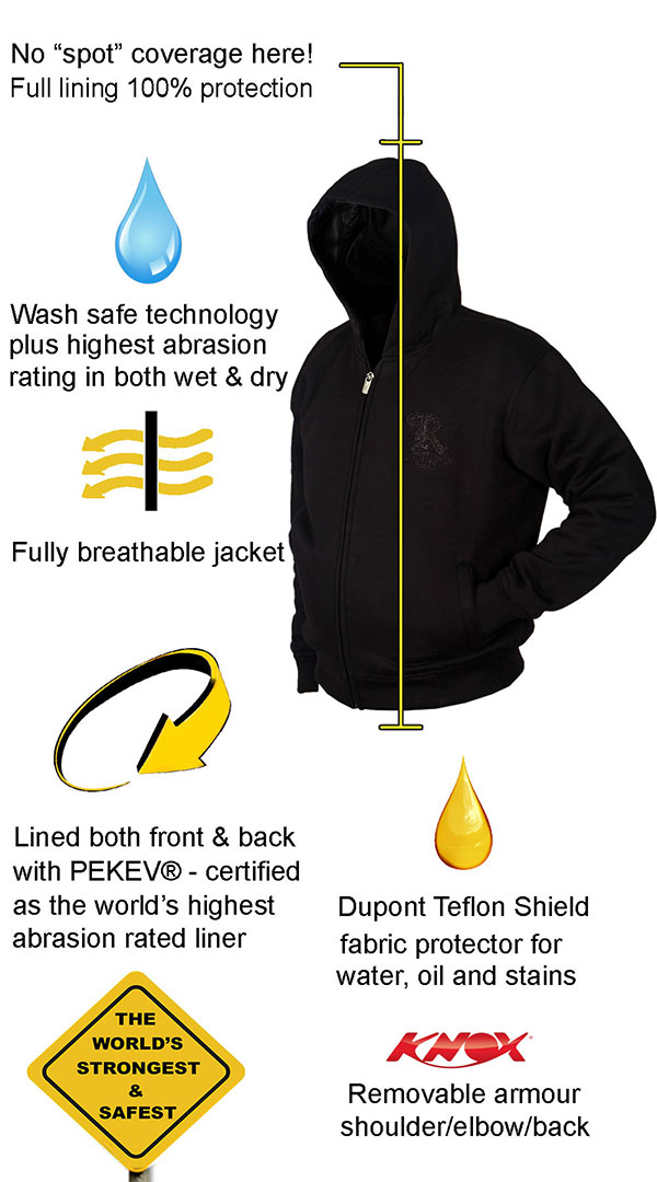 Motorcycle Armored Hoodie NZ - Black - fully PEKEV® lined - Features