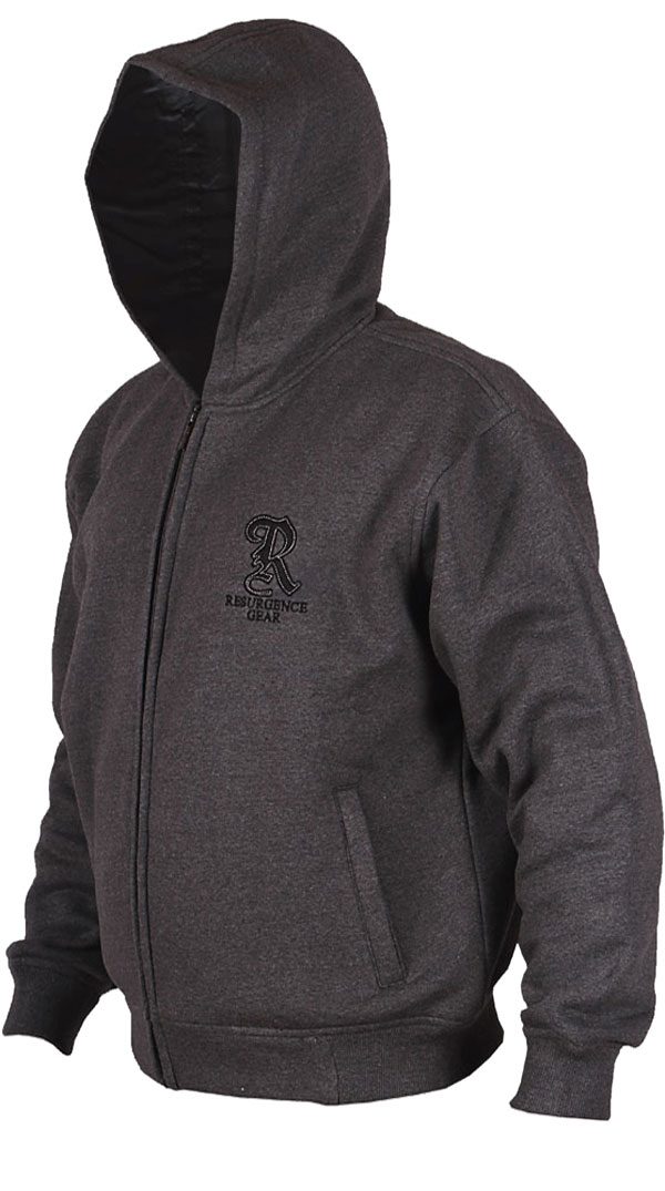 Motorcycle Armored Hoodie NZ - Charcoal - fully PEKEV® lined.