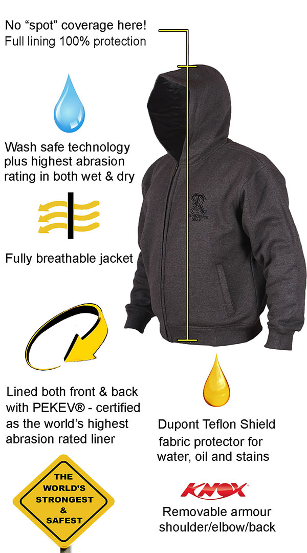 Motorcycle Armored Hoodie Australia - Charcoal - fully PEKEV® lined. - Features