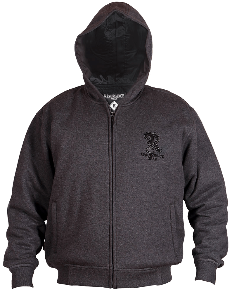 Motorcycle Armored Hoodie Australia - Charcoal - fully PEKEV® lined - Front