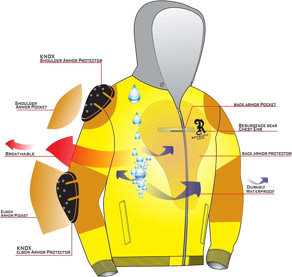 Motorcycle armored Hoodie - SHoulder, elbow & back armour pockets