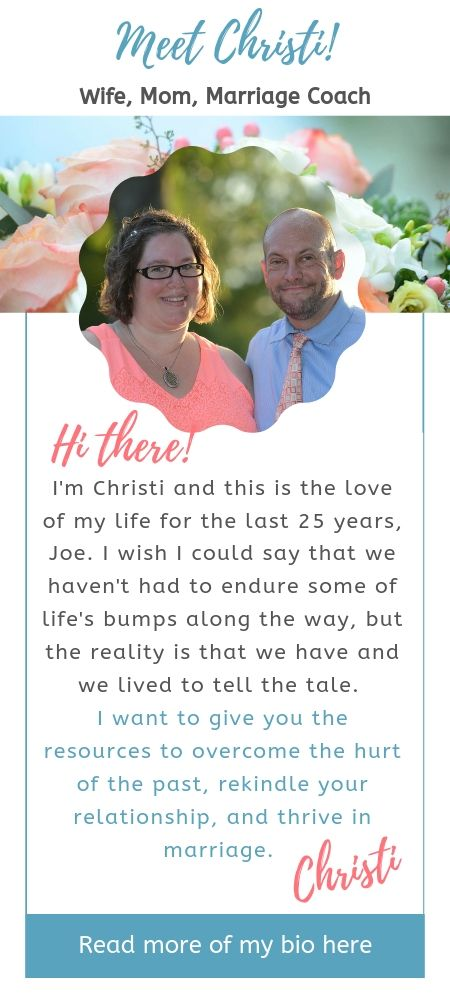 Photo of Joe and Christi with author bio for Resurrecting Marriage. Purpose is to help Christian wives overcome the hurt of the past, rekindle your relationship, and thrive in marriage.