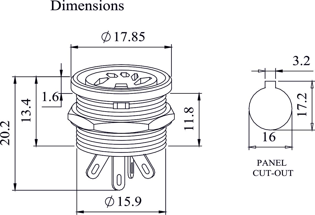 Deltron 5 Pin Din Panel Socket