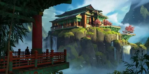 End of Dragons concept art showing a Canthan building on a rock surrounded by mist.