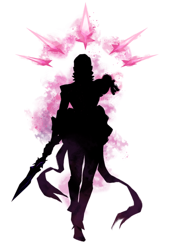 A silhouette of a mysterious figure accompanied by magical pink blades.