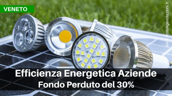 [VENETO] Fondo perduto del 30% per efficienza energetica aziende - Nuova Edizione