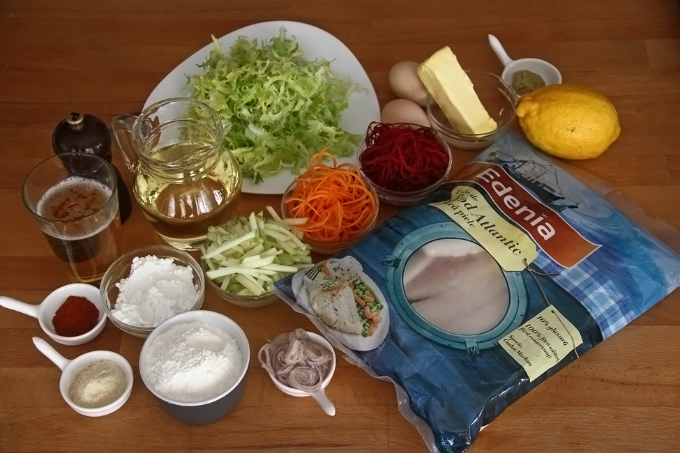ingrediente file de peste in aluat cu crusta de bere cu salata si sos olandez