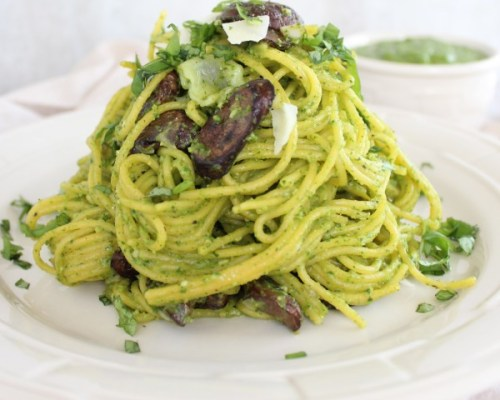 spaghete-fara-gluten-cu-ciuperci-si-pesto-de-spanac