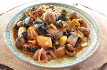 Mancare de praz cu ciuperci si masline (de post) (Bucataras)
