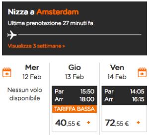 Screen di un sito di una compagnia aerea di un viaggio in aereo