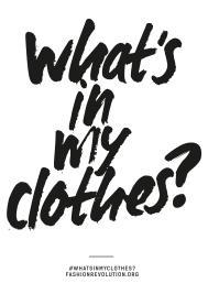 """Scritta: """"cosa c'è nei miei vestiti?"""""""