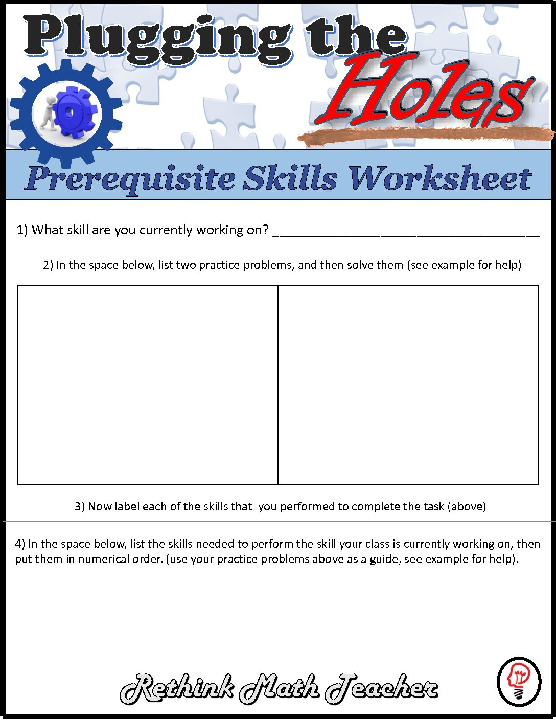 Plugging The Holes Worksheet