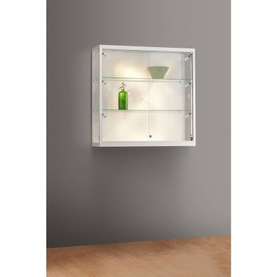 vitrine murale grise eclairage lateral led 100x30x98 cm