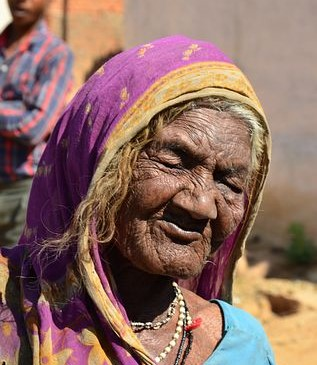 Blind Lady in India