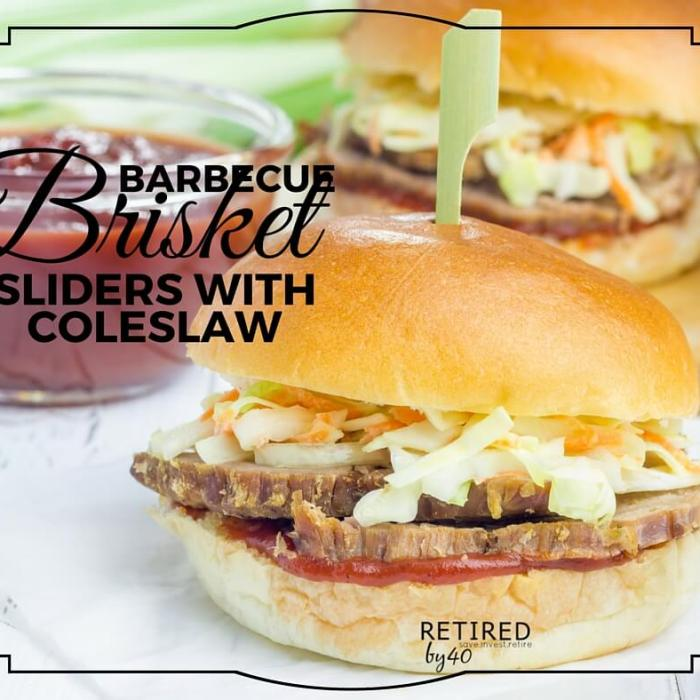 Barbecue Brisket Sliders with Coleslaw