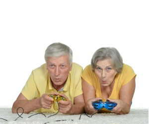retirees playing video games