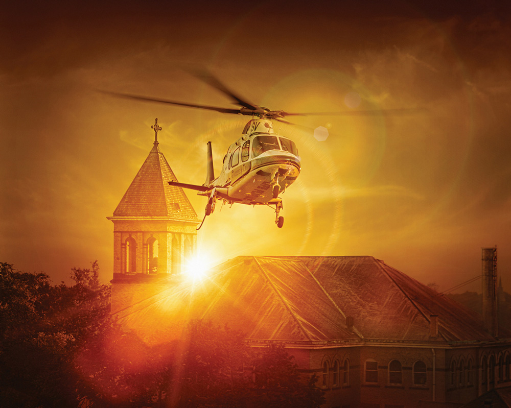 Sunset Copter Client: St. Vincent Life Flight Image by: Jeff Whitlock