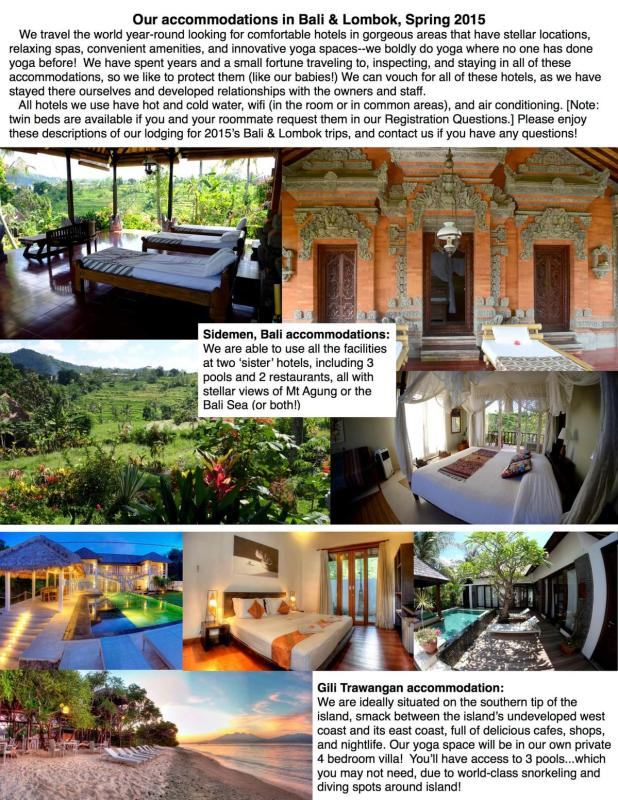 2015 Bali and Lombok accommodation fact SHEET ONE