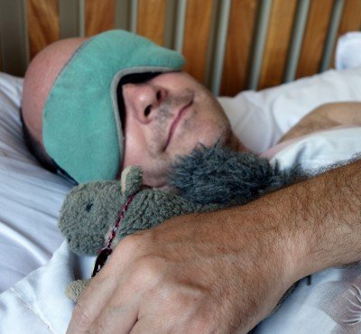 Sleeping with your favorite Traveling Squirrel Mascot helps, too.