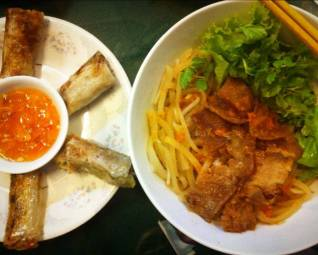 cao lau and spring rolls