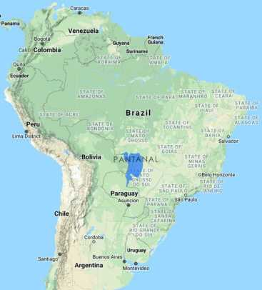 Map of the Pantanal in South America